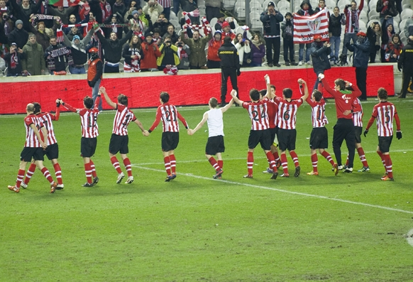 El Athletic celebrando el paso a la final